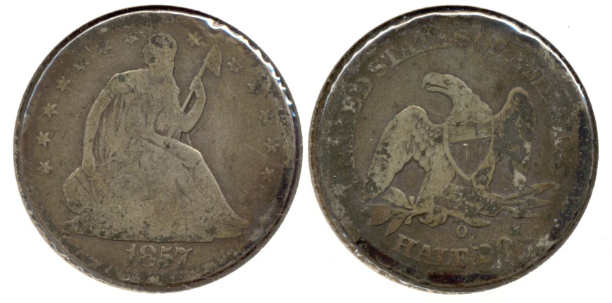 1857-O Seated Liberty Half Dollar Good-4 Edge Bruises