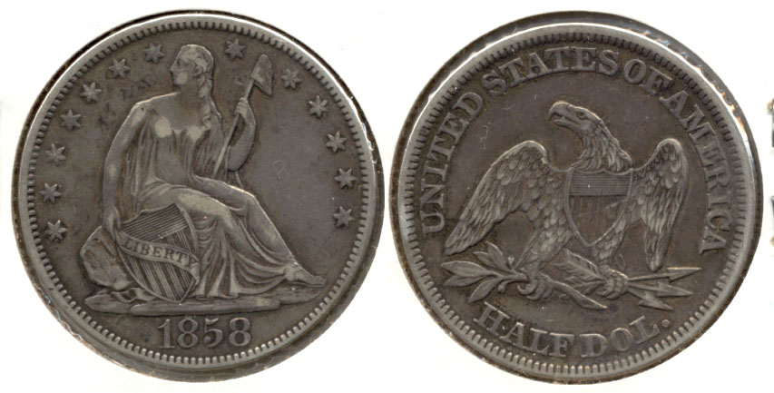 1858 Seated Liberty Half Dollar EF-40