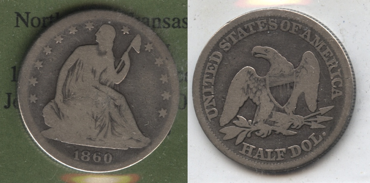 1860 Seated Liberty Half Dollar Good-4