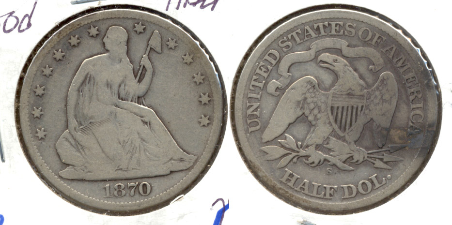 1870-S Seated Liberty Half Dollar Good-4