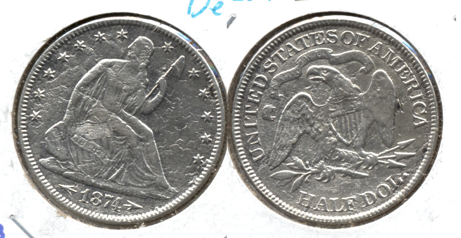 1874 Seated Liberty Half Dollar EF-40 Buried