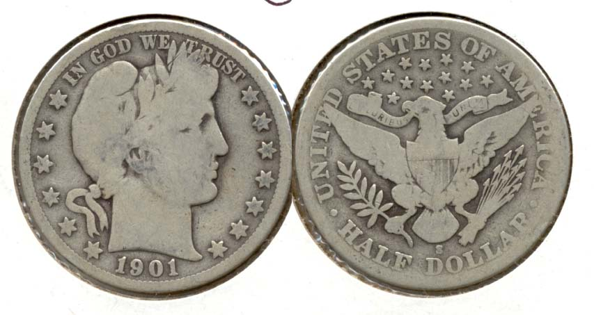 1901-S Barber Half Dollar Good-4 a