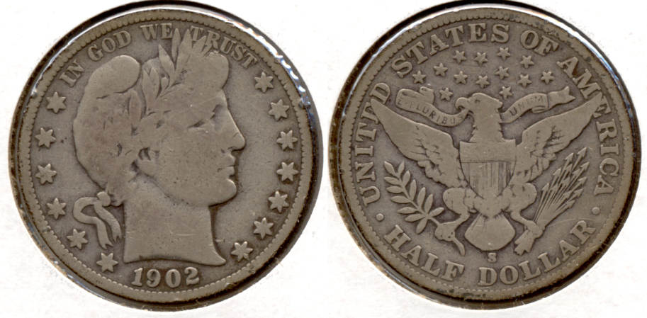 1902-S Barber Half Dollar Good-4 c