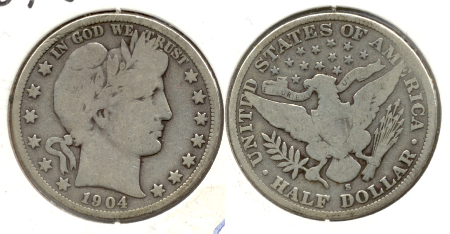 1904-S Barber Half Dollar Good-4 a
