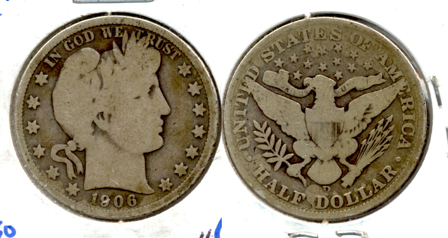 1906-D Barber Half Dollar Good-4 b