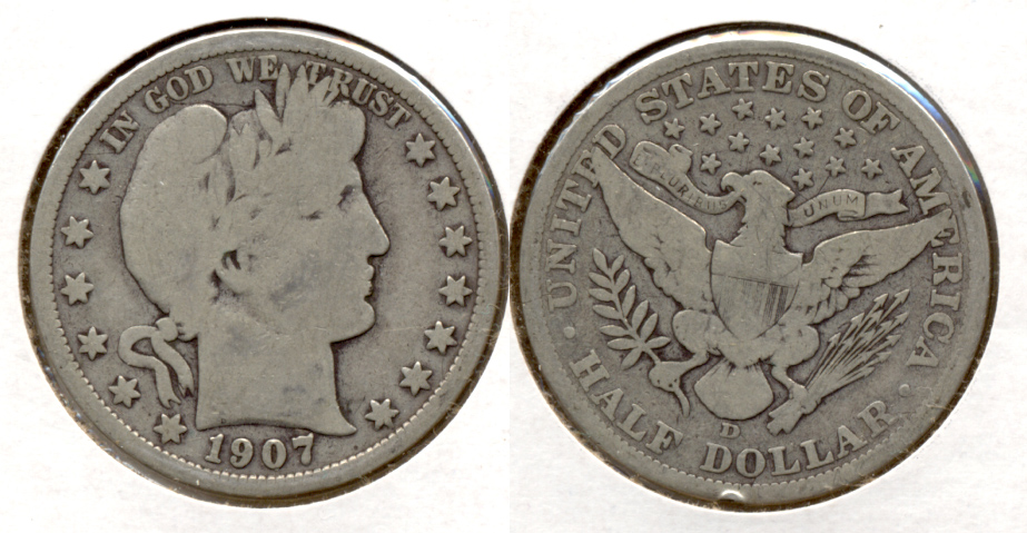1907-D Barber Half Dollar Good-4 i