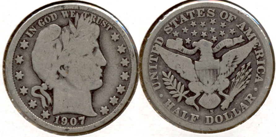 1907-S Barber Half Dollar Good-4 c