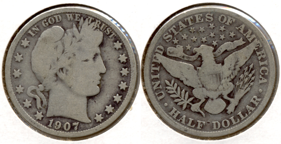 1907 Barber Half Dollar Good-4 g