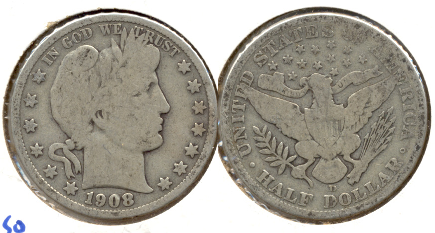 1908-D Barber Half Dollar Good-4 a