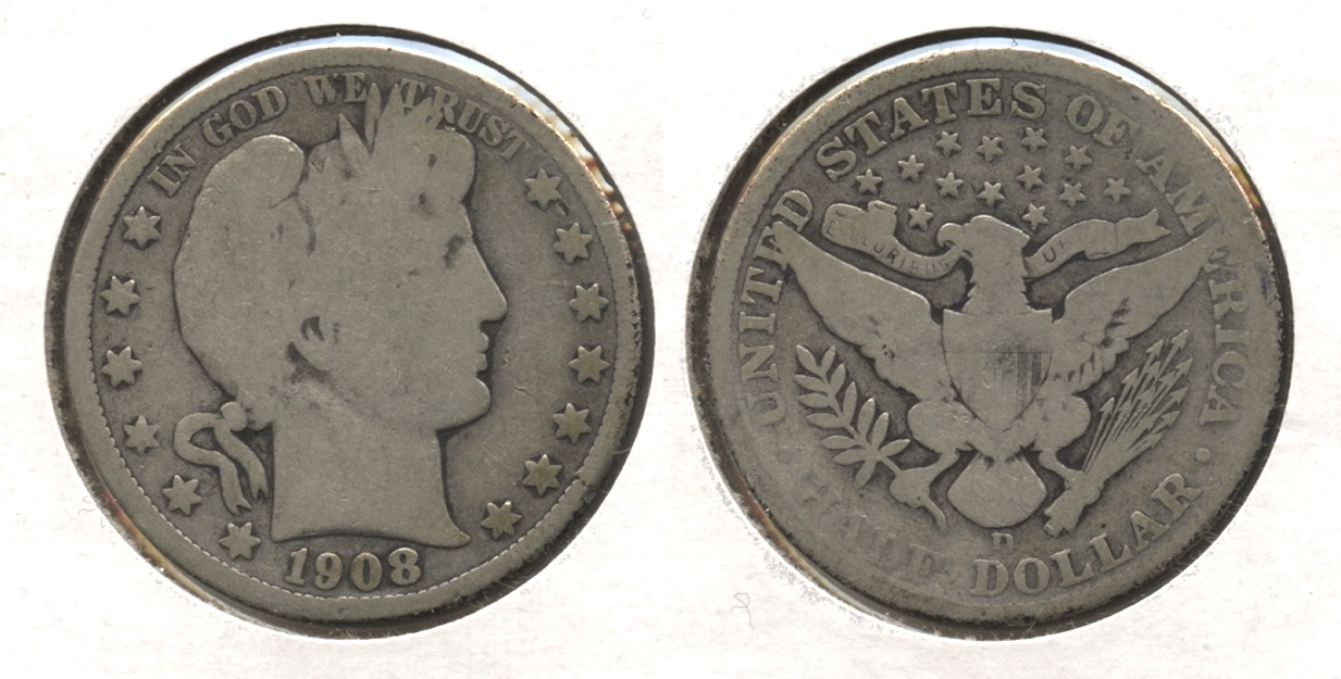 1908-D Barber Half Dollar Good-4 #j