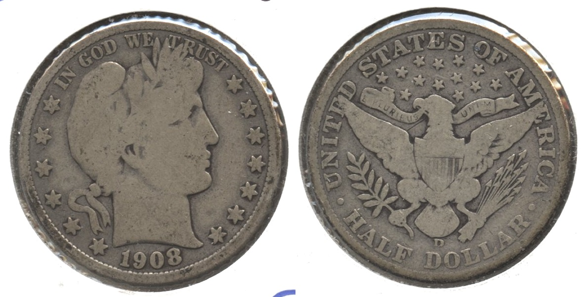 1908-D Barber Half Dollar Good-4 #m