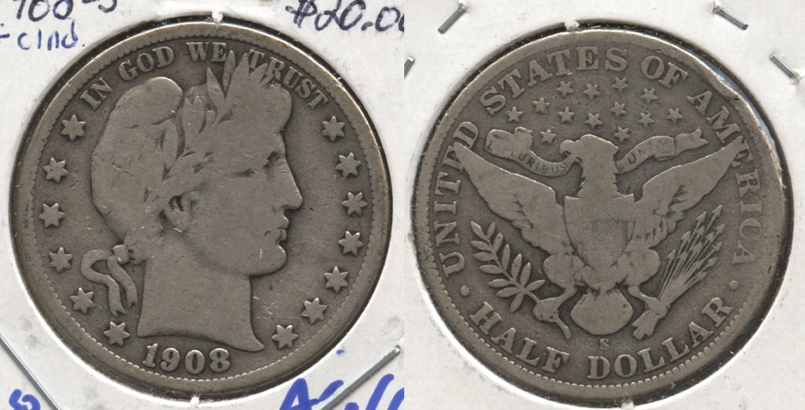 1908-S Barber Half Dollar Good-4 #e Cleaned