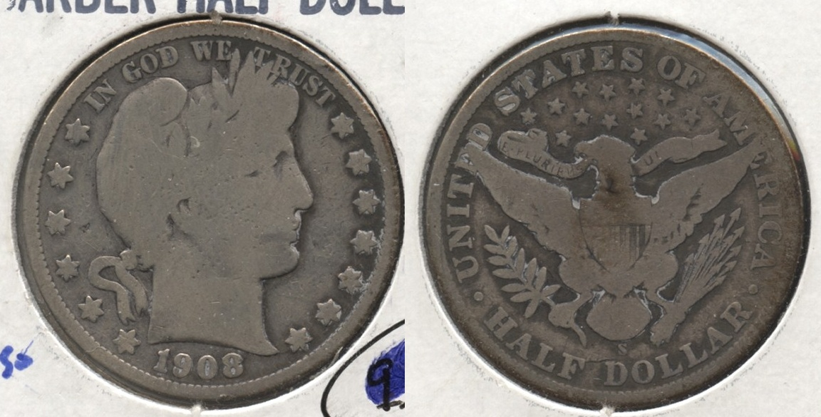 1908-S Barber Half Dollar Good-4 #f Old Cleaning