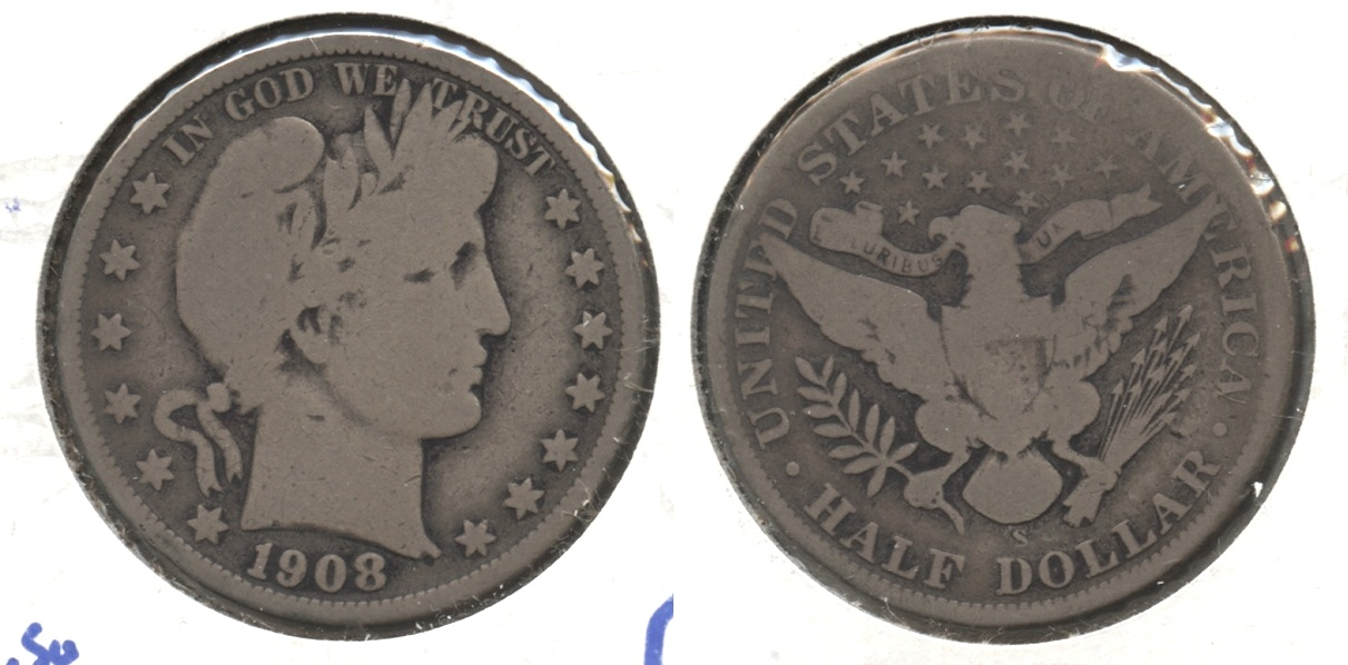 1908-S Barber Half Dollar Good-4 #i