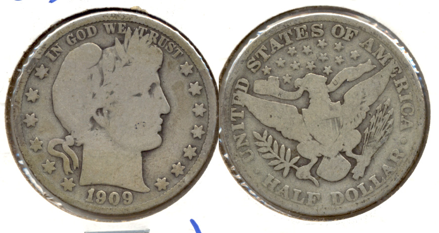 1909 Barber Half Dollar Good-6 b Rim Bump
