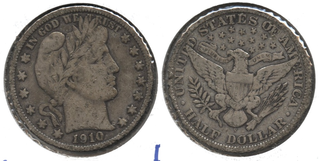 1910-S Barber Half Dollar Fine-12 Ugly
