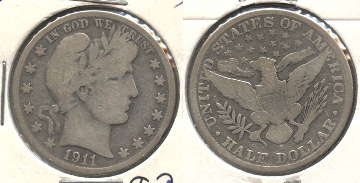 1911-S Barber Half Dollar Good-4 #c Cleaned