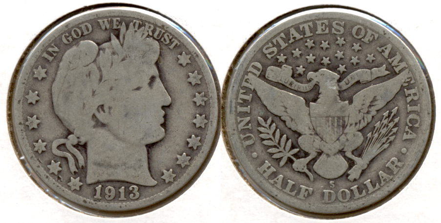 1913-S Barber Half Dollar Good-4 c