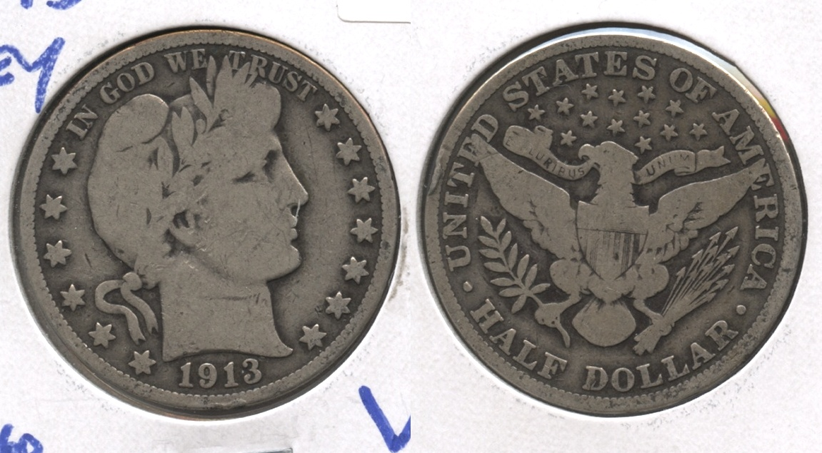 1913 Barber Half Dollar Good-6 Rim Bump