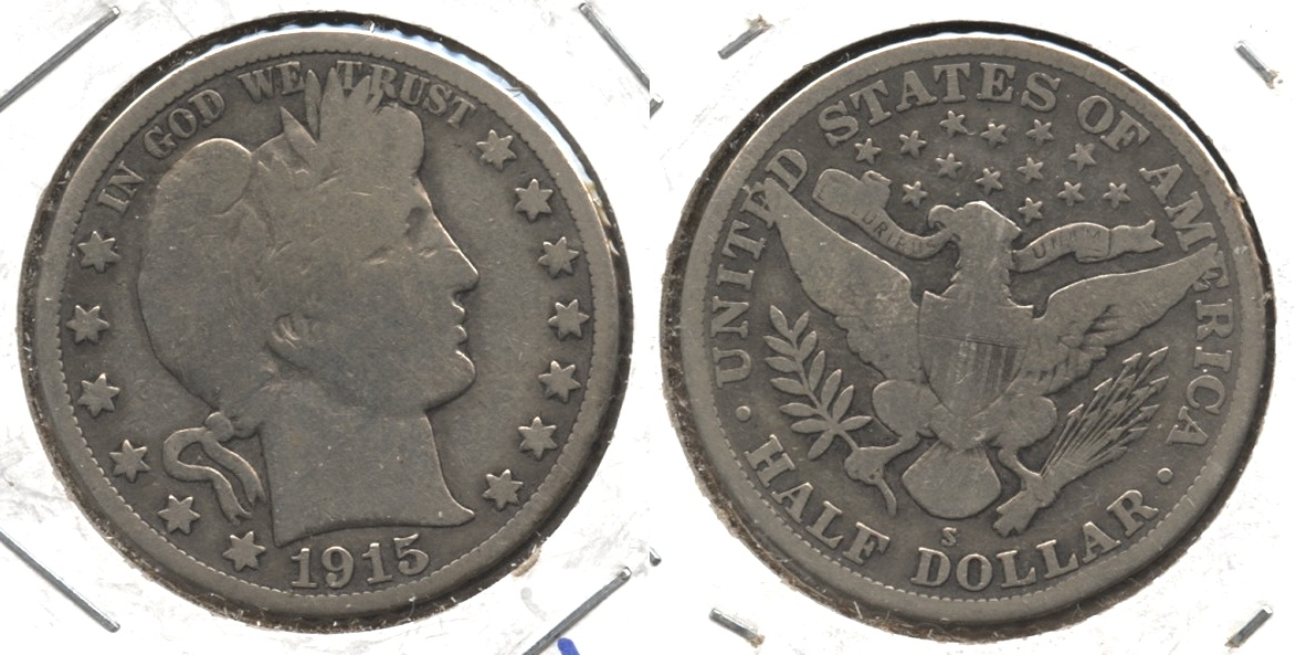 1915-S Barber Half Dollar Good-4 #g Cleaned