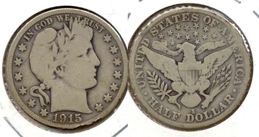 1915-S Barber Half Dollar Good-6 a Rim Bumps