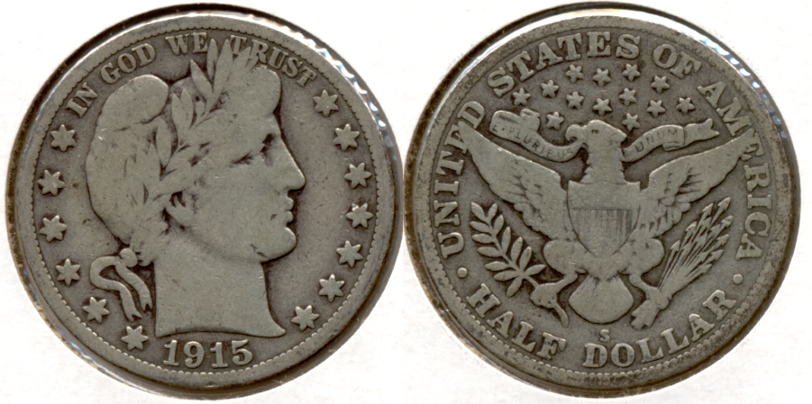 1915-S Barber Half Dollar Good-6 d