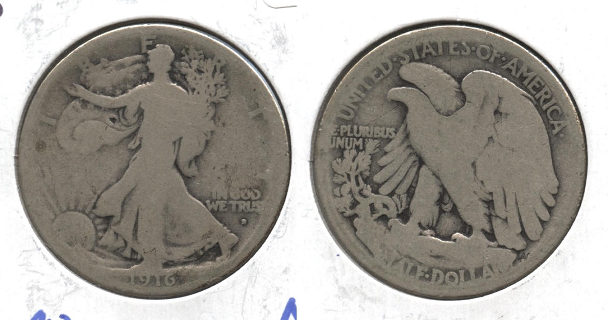 1916-D Walking Liberty Half Dollar AG-3 #j