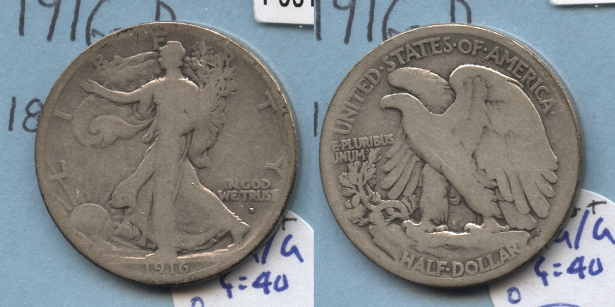 1916-D Walking Liberty Half Dollar AG-3+ #o