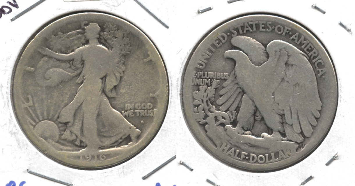 1916-S Walking Liberty Half Dollar AG-3 #h