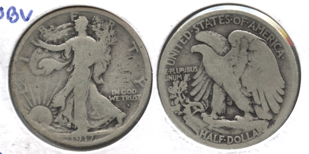 1917-D Obverse Mint Mark Walking Liberty Half Dollar Good-4 #b