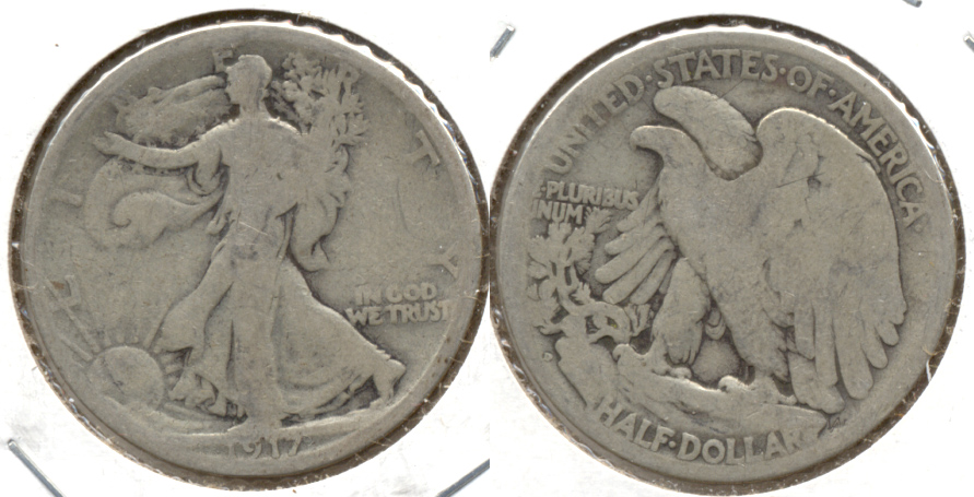 1917-D Reverse Mint Mark Walking Liberty Half Dollar Good-4