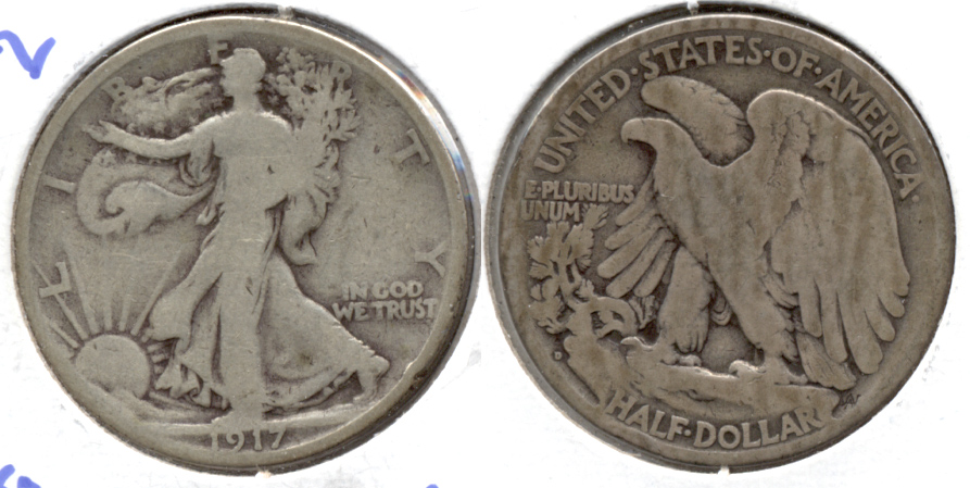 1917-D Reverse Mint Mark Walking Liberty Half Dollar Good-4 a