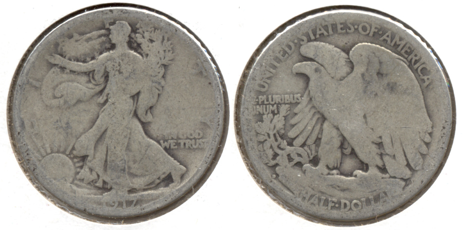 1917-D Reverse Mint Mark Walking Liberty Half Dollar Good-4 d