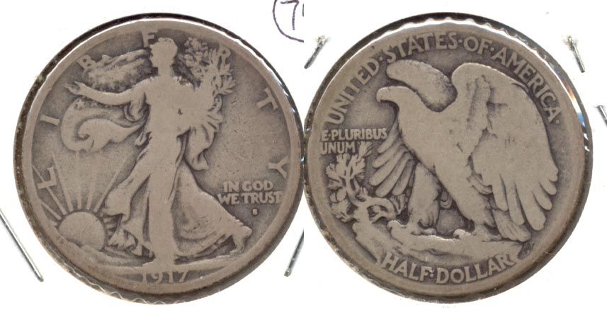 1917-S Obverse Mint Mark Walking Liberty Half Dollar Good-4 b