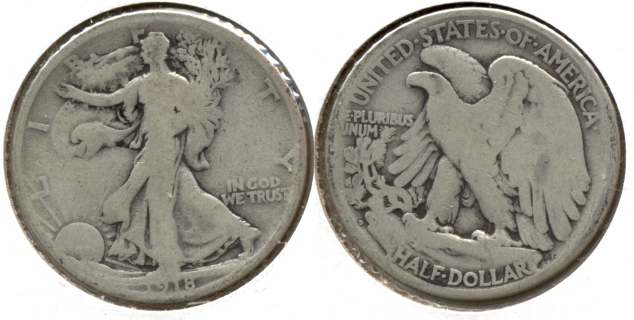 1918-D Walking Liberty Half Dollar Good-4 b