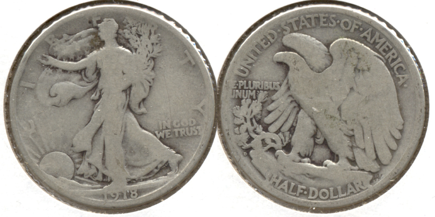 1918-D Walking Liberty Half Dollar Good-4 v