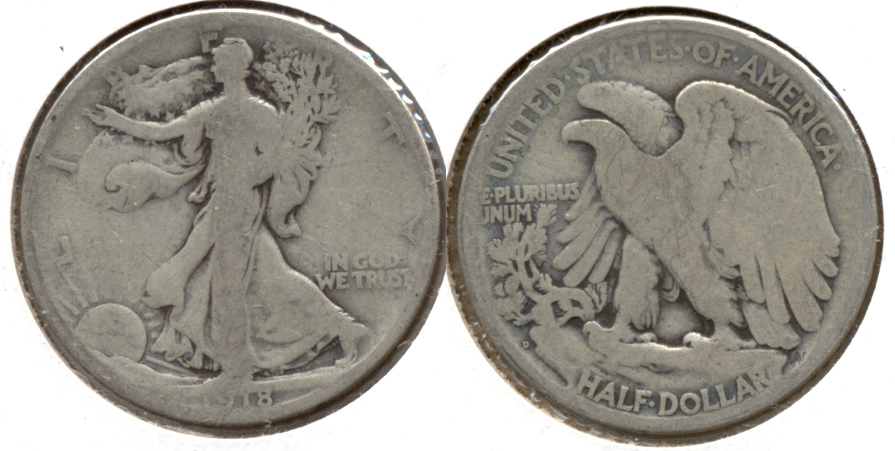 1918-D Walking Liberty Half Dollar Good-4 x