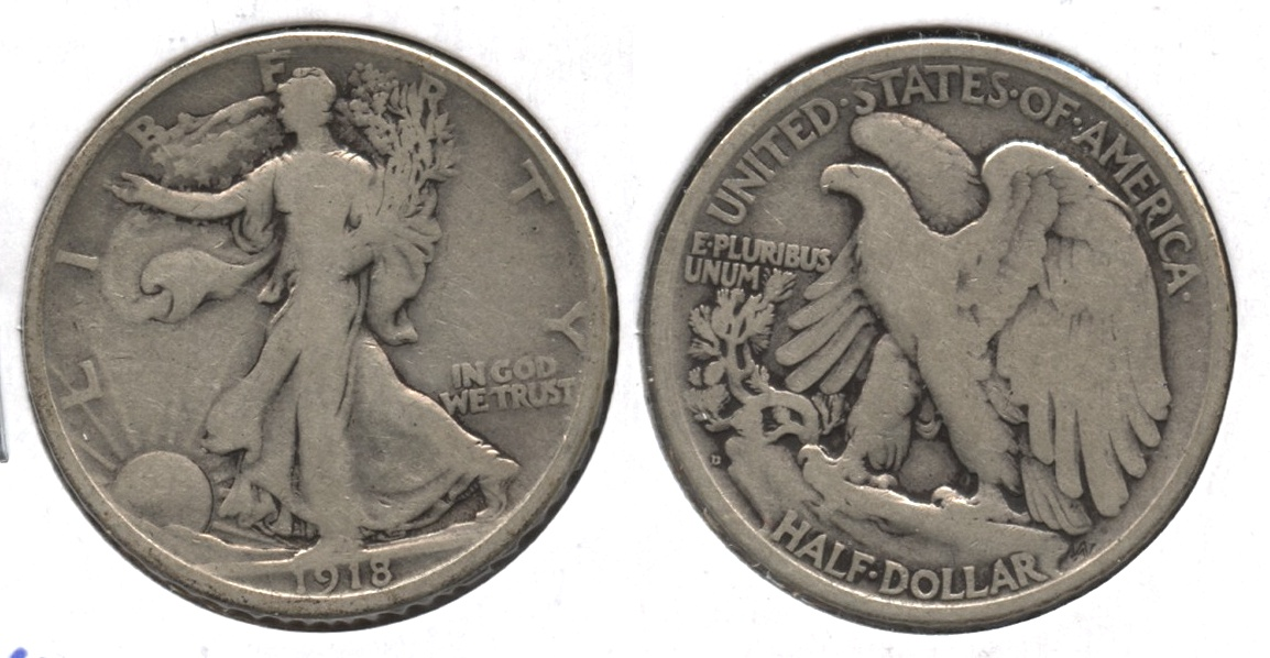 1918-D Walking Liberty Half Dollar Good-6 #a