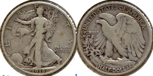 1918-S Walking Liberty Half Dollar Fine-12 b