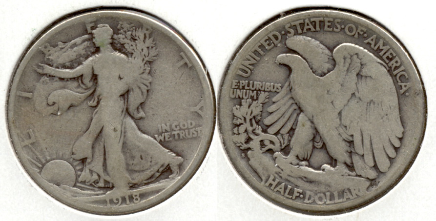 1918-S Walking Liberty Half Dollar VG-8 d