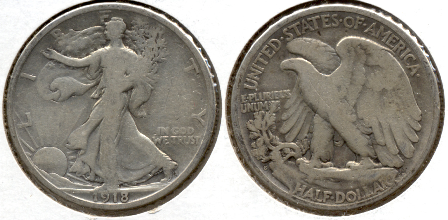 1918-S Walking Liberty Half Dollar VG-8 g