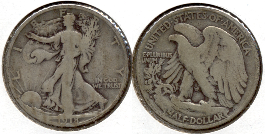 1918-S Walking Liberty Half Dollar VG-8 r