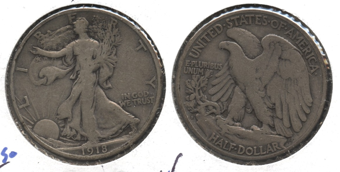 1918-S Walking Liberty Half Dollar VG-8 #z