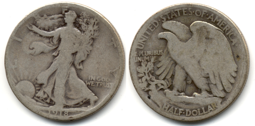 1918 Walking Liberty Half Dollar Good-4 a