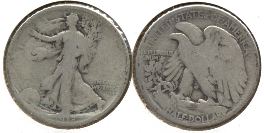 1918 Walking Liberty Half Dollar Good-4 p