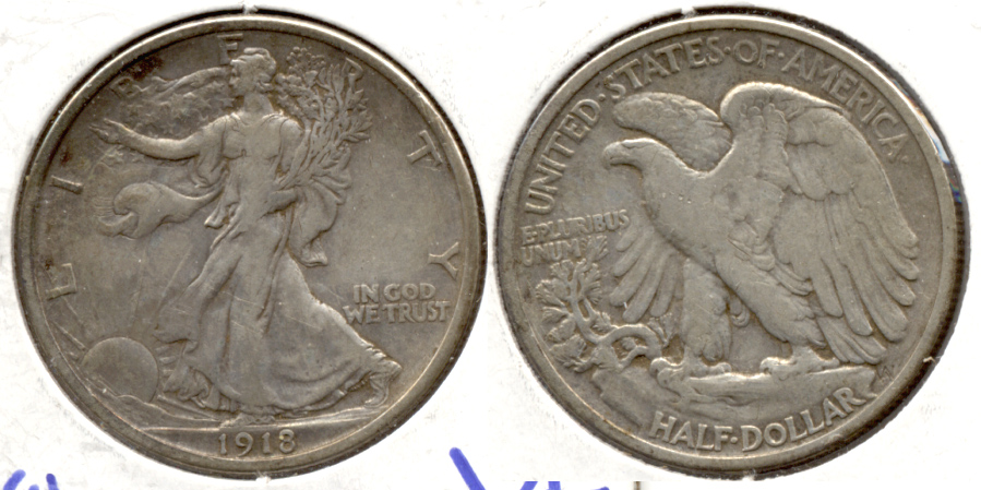 1918 Walking Liberty Half Dollar VF-20 Cleaned Retoned