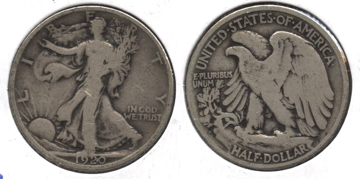 1920-D Walking Liberty Half Dollar VG-8 #d
