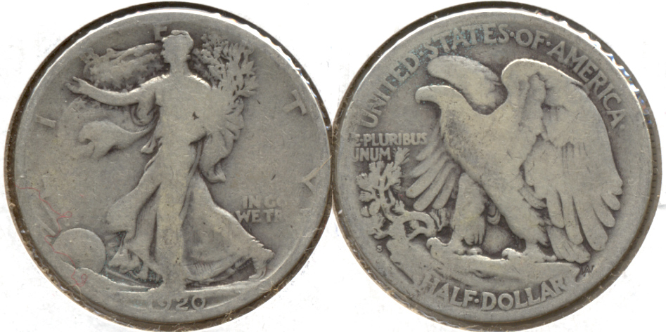 1920-S Walking Liberty Half Dollar Good-4 t