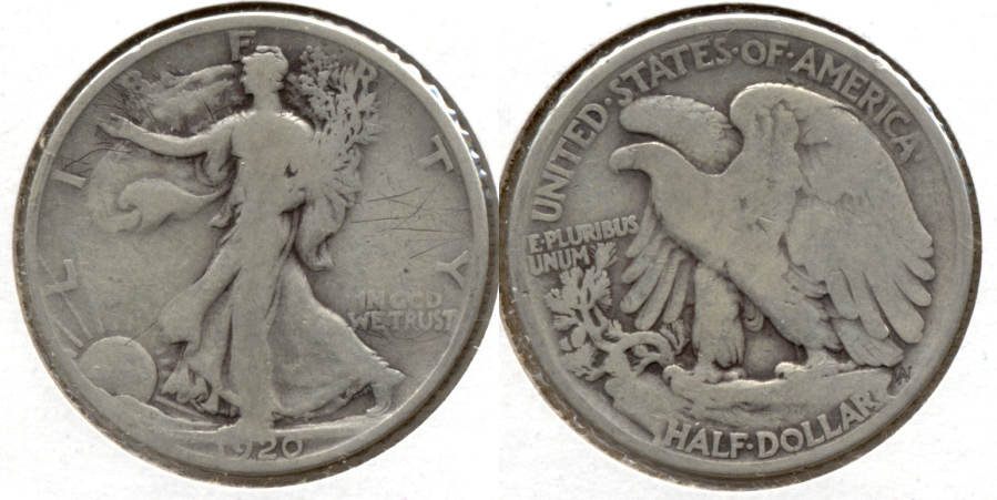 1920 Walking Liberty Half Dollar Good-6 Obverse Scuffs
