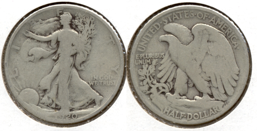 1920 Walking Liberty Half Dollar VG-8 c